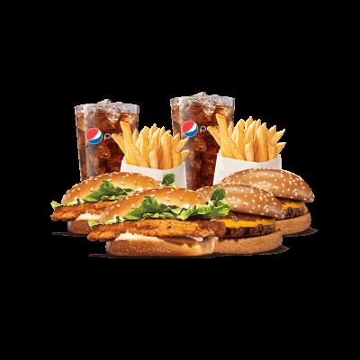2 Cheddar + 2 Chicken Jr. + 2 Batatas Pequenas + 2 Free Refill - R$ 37,90