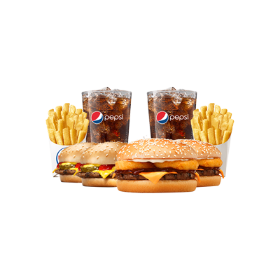 2 Rodeio + 2 Cheeseburger + 2 Batatas Pequenas + 2 Free Refill - R$ 40,90