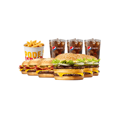 3 Big King™ + 3 Cheeseburger Bacon + 1 Balde de Batatas + 3 Free Refill - R$ 79,90