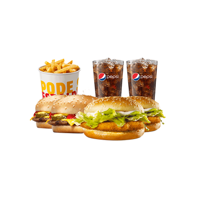 2 Chicken Jr. + 2 Cheeseburger + 1 Balde de Batata + 2 Free Refill - R$ 44,90